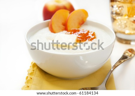 Hot cream of rice cereal. Also happens to look like grits. - stock photo