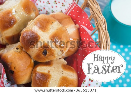 Hot Cross Buns in Basket. Easter Card. View from above. - stock photo
