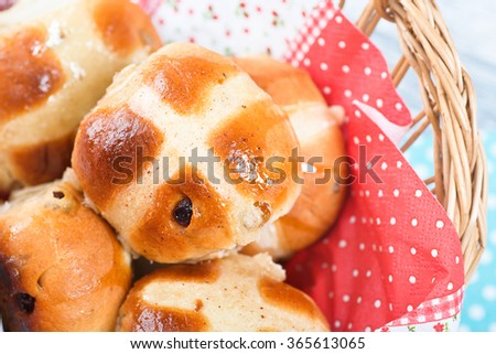 Hot Cross Buns in Basket. Easter Card. View from above. Close-up. - stock photo