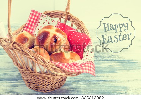 Hot Cross Buns in Basket. Easter Greeting Card. Photo  in Vintage Tone Style. - stock photo