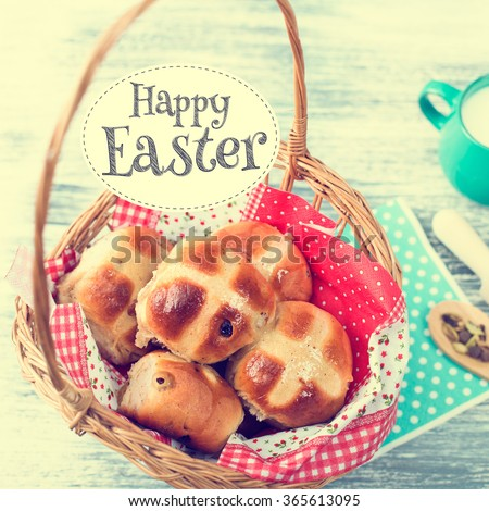 Hot Cross Buns in Basket. Easter Greeting Card. Photo  in Vintage Tone Style. Square Format. - stock photo