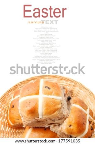 Hot Cross buns isolated on white background - stock photo