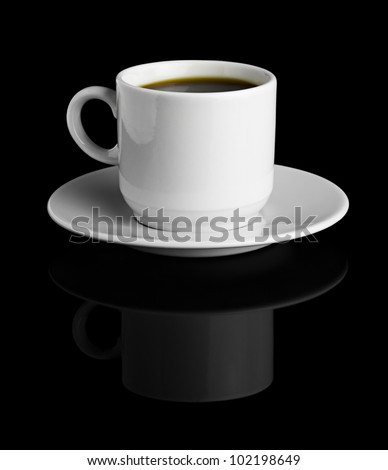 Hot Cup of Coffee in a White Ceramic Mug on a Saucer isolated on a black background - stock photo