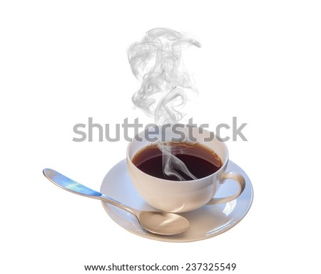 Hot cup of coffee with spoon on white background - stock photo