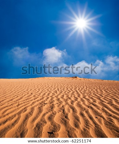 hot day in a sand desert - stock photo