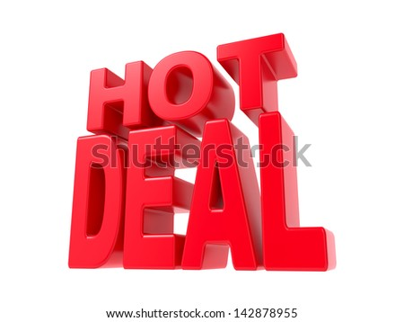 Hot Deal - Red 3D Text. Isolated on White Background. - stock photo