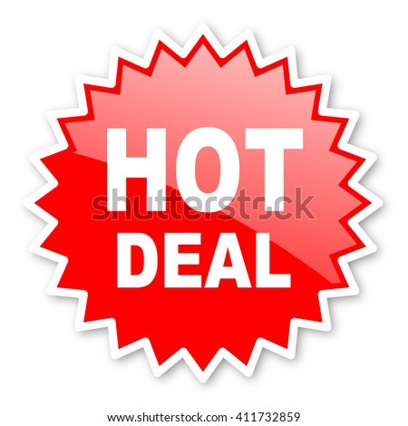 hot deal red tag, sticker, label, star, stamp, banner, advertising, badge, emblem, web icon - stock photo
