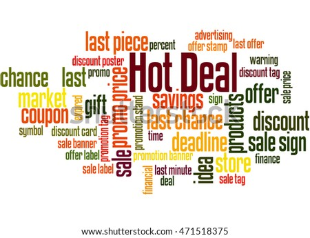 Hot Deal, word cloud concept on white background.