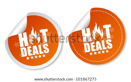Hot deals stickers - stock photo