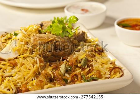 Hot delicious chicken biryani. - stock photo