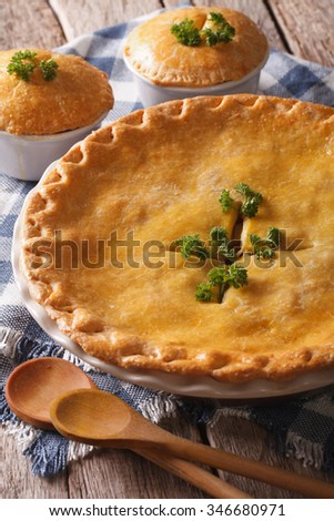 Hot delicious Chicken pot pie in the baking dish close up on the table. vertical - stock photo