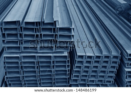 Hot dip galvanized steel channel  - stock photo