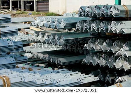 Hot-dip steel galvanized bunch on the rack in warehouse