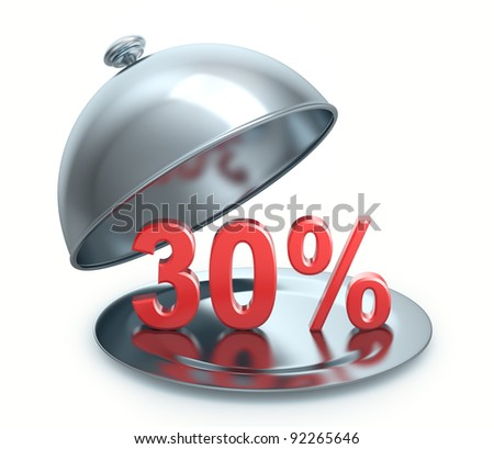 Hot Discount 30 percent, isolated on white background