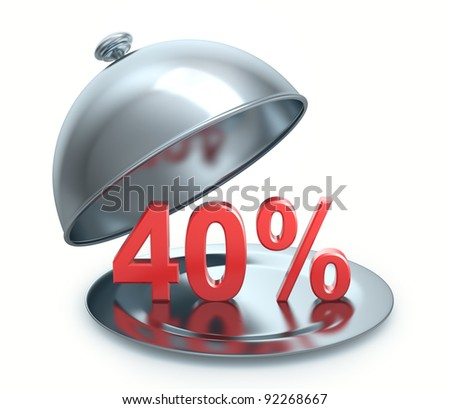 Hot Discount 40 percent, isolated on white background