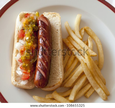 Hot dog and french fries