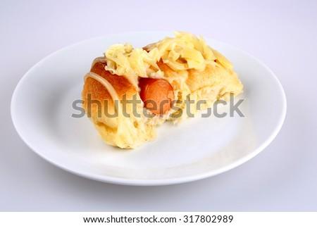 hot dog bread, sausage bread , delicious bread., hot dog,  - stock photo