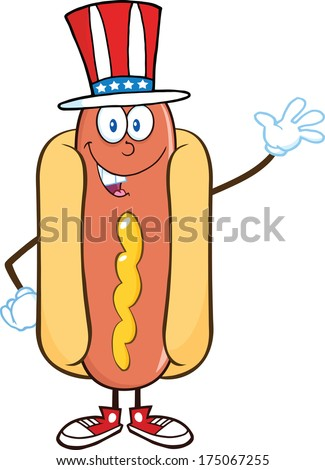 Hot Dog Cartoon Mascot Character With American Patriotic Hat Waving. Raster Illustration.
