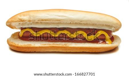 hot dog,chicken hot dog,sausage, sandwich on white background - stock photo