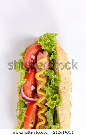 Hot dog from above on white background