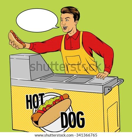Hot dog guy pop art cartoon style raster illustration. Comic book imitation. Hot dog vendor.