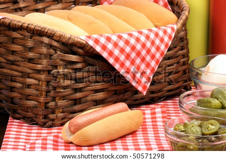 hot dog ingredients on a nice table setting rich in colors and flavors perfect for picknicks - stock photo