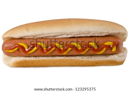 Hot dog isolated on white background. - stock photo