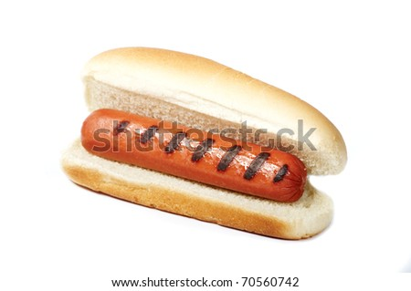 Hot dog isolated on white with bun - stock photo