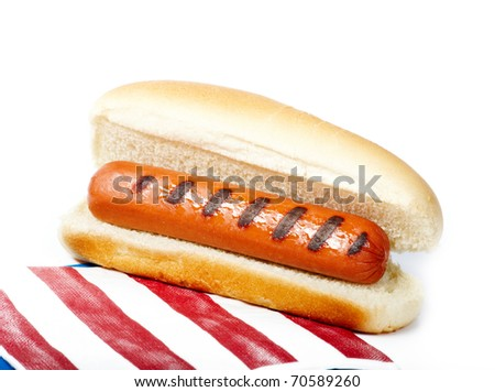 Hot dog isolated on white with bun and napkin - stock photo