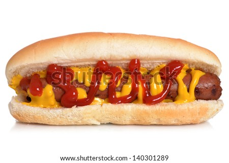 hot dog isolated white background - stock photo
