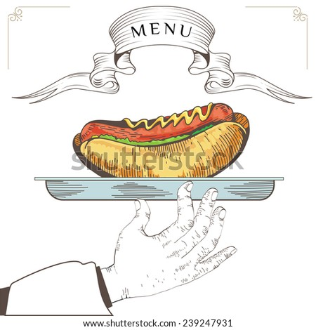 Hot dog menu design. Element for an restaurant with the hand of a waiter carrying a tray. Loaded with an Hot dog on white background. Serve food - stock photo