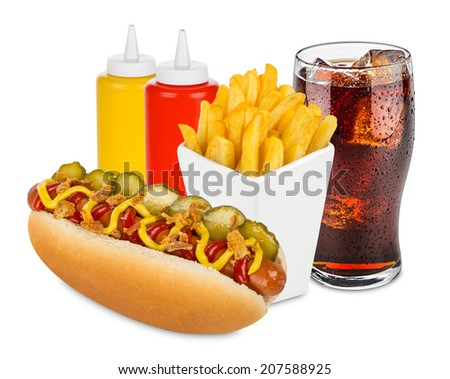 hot dog menu with french fries and cola - stock photo