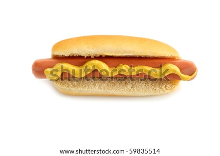 hot dog on white background - stock photo