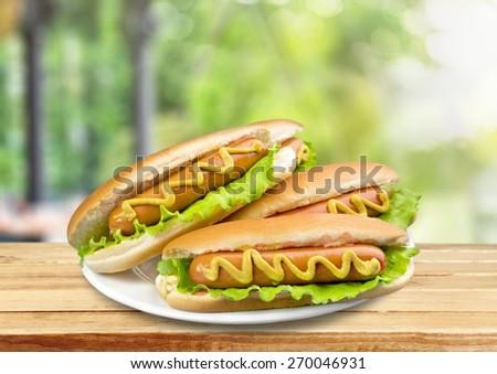 Hot Dog. Plate Of Hotdogs - stock photo