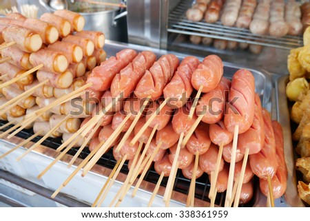 Hot dog traditional Thai style street food in Bangkok Thailand - stock photo