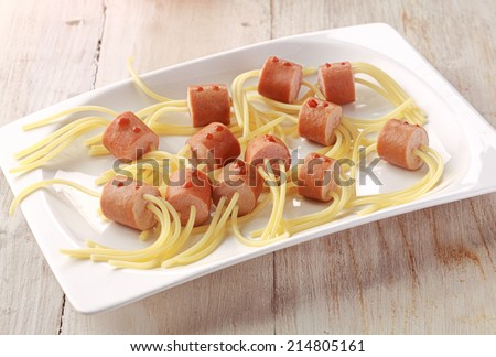 Hot Dog Wiener and Noodle Halloween Spider Snacks on White Plate - stock photo