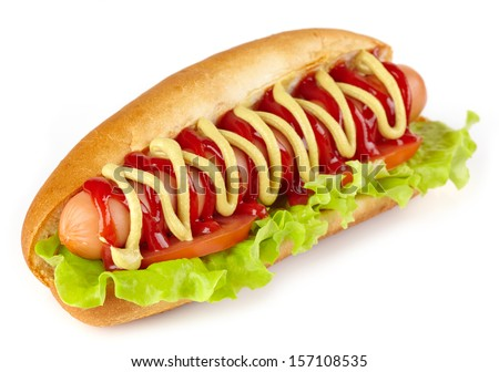 Hot dog with lettuce and tomato on white background