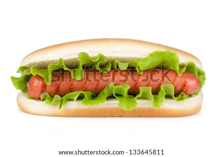 Hot dog with lettuce. Isolated on white background - stock photo