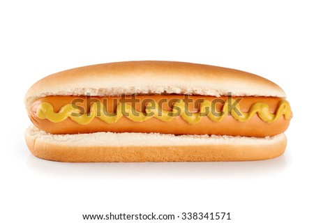 Hot dog with mustard isolated on white background.