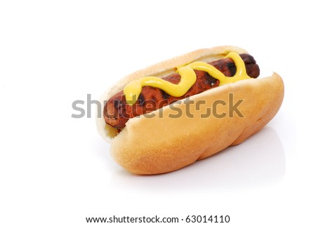 hot dog with mustard isolated white background - stock photo