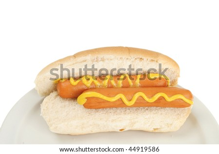 Hot dog with mustard on a plate