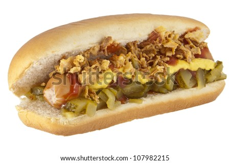 Hot Dog with onions and cucumber isolated on white background (with clipping paths) - stock photo