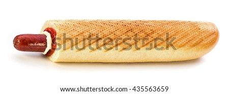 Hot Dog with smoked sausage on a white background