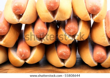 hot dogs  on a nice table setting rich in colors and flavors perfect for picnics - stock photo