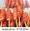 Hot dogs on the stick - stock photo