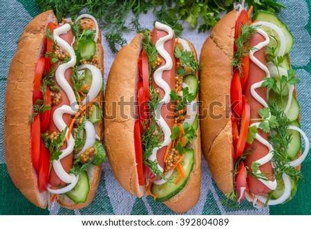 Hot Dogs. Top view. - stock photo