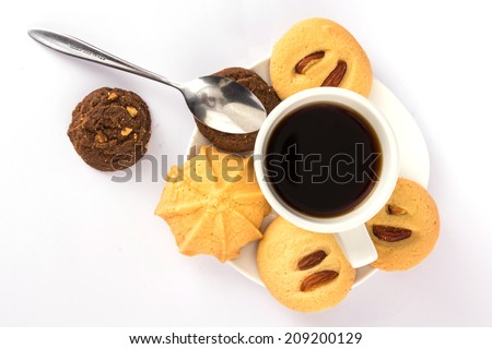 Hot drink coffee and cookies with studio lighting