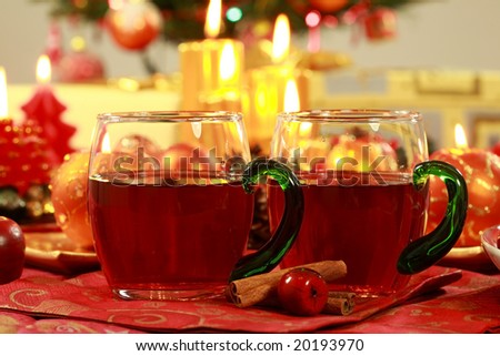 Hot drink for Christmas with delicious cookies