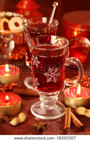 Hot drink for winter and Christmas with delicious cookies - stock photo
