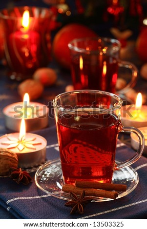 Hot drink with Christmas cookies - stock photo